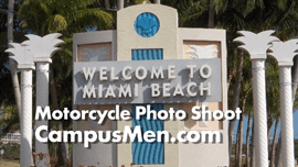 Using a Parked Motorcycle for a Photo Shoot in Miami Beach